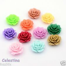 10 x Flower Resin Flat Back Cabochon 18-20mm x 9mm - Rose Mixed Colours - CAB60