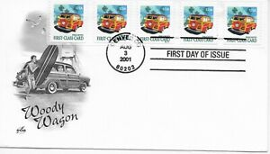 US Scott #3522, First Day Cover 8/3/01 Denver Plate #S1111 Coil of 5 Wagon