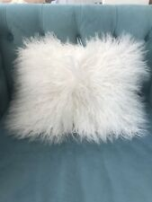 West Elm White Mongolian Fur Pillow Cover 12 X 18
