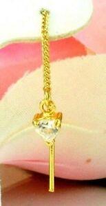 22K THAI BAHT DP GOLD ~ SML TRILLIANT CUT FANCY CUT DIAMOND THREADER EARRINGS