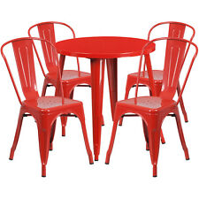 30'' Round Red Metal Indoor-Outdoor Restaurant Table Set with 4 Cafe Chairs