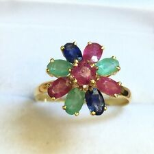 14k Solid Yellow Gold Cluster Flower Ring, Mix Ruby Sapphire Emerald 2.7TCW,Sz 7