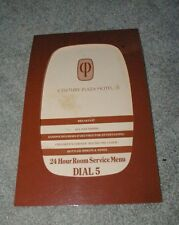 Vintage Century Plaza Hotel Restaurant Menu Cool Cut Out Front