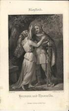 Stampa antica KLOPSTOCK Hermann und Thusnelda 1860 Old antique print Alte stich