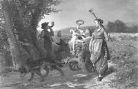 TIRED DOG PULLS CART OF FARM KIDS HOME FROM FIELD ~ Old 1878 Art Print Engraving