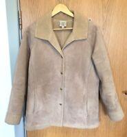 Laura Ashley Ladies Size L Vintage Borg Fleece Fur Coat Suede Effect Jacket