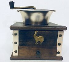 Vintage Gail Craft Product Hand Crank Wooden Coffee Bean Mill Grinder Rooster