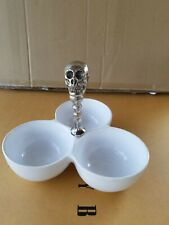 Pottery Barn Metal Skull And Ceramic Condiment Serve #4324