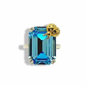 White gold finish blue topaz ladybird design created diamond ring size L