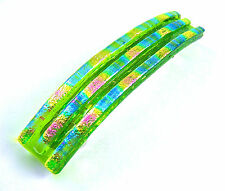 """Dichroic Hair Barrette 3.5"""" 9cm Lime Green Fused Glass Magenta Pink Blue Accents"""