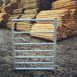 7 Bar Galvanised Metal Field Farm Equestrian Entrance Security Gate 3ft-12ft
