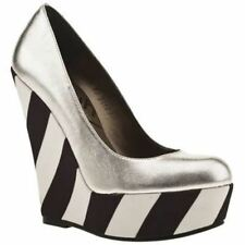 New Womens Schuh Silver Leather Princess Wedges Black White Stripe Heel 5 38