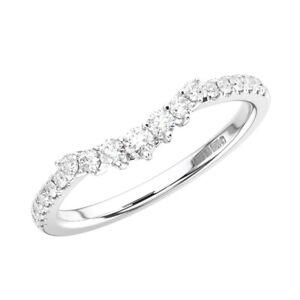 0.30Carat Claw Set Round Brilliant Cut Diamonds Wedding Ring in 18K White Gold