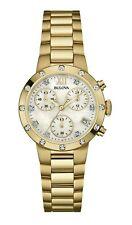 Bulova Mujer Cuarzo Cronógrafo Diamante acento Gold-Tone 30mm Reloj 98R216
