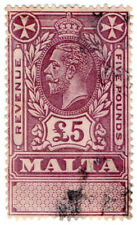 (I.B) Malta Revenue : Duty Stamp £5