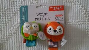 2 NEW INFANTINO INFANT FOX OWL WRIST ANKEL RATTLE TEETHER,BPA FREE,PLUSH,AGES 0+