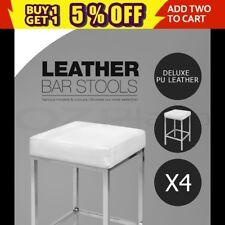 4x PU Leather Bar Stool Modern Kitchen Barstool Chair Steel Legs White 9076