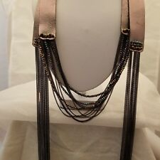 Gunmetal Faux Leather 67 Inch Wrap Necklace