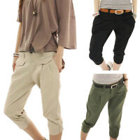 2019 Casual Summer Women's Relaxed-Fit Mid-Waist Solid Slim Cargo Cropped Pants