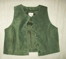SUSAN BRISTOL Green Quilted Pig Suede Leather VEST Button Front Woman's Size 4P