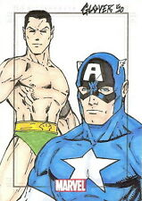 Marvel Heroes & Villains Sketch Card drawn by Mike Glover - Captain America