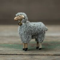 New Primitive Vintage German Style GRAY WOOL SHEEP BELL FIGURINE Lamb Figure 4""