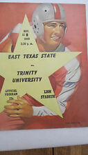 1949 East Texas State vs. Trinity University ~  College Football Game Program