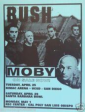 Bush / Moby 2000 San Diego Concert Tour Poster-Electronic, Edm & Hard Rock Music