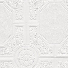 Ornate White Paintable Wallpaper with Medallion and Octagonal Shape  48929