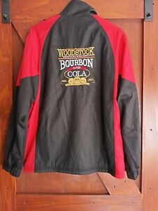 SZ M WOODSTOCK KENTUCKY STRAIGHT BOURBON Fleece Lined Black & Red Jacket VGC