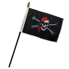 "Wholesale Lot of 6 Jolly Roger Pirate Red Bandana 4""x6"" Desk Table Stick Flag"