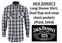 NWT Men Jack Daniel's Whiskey Long Sleeve Shirts with Logo, Plaid,Solid