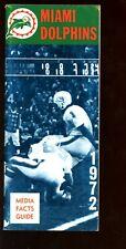 1972 NFL Football Miami Dolphins Media Guide VGEX