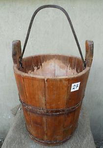 Antico Secchio IN Legno Acqua di Fontana Con Eisenhenkel (27)