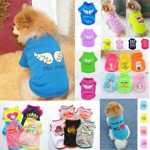 Cute Pet Dog Clothes Cotton T-shirt Small Cat Puppy Vest Print Summer Coat Soft