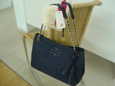 Original TORY BURCH traumhafte THEA STRAW Tote Tasche Navy fast NEU NP399€