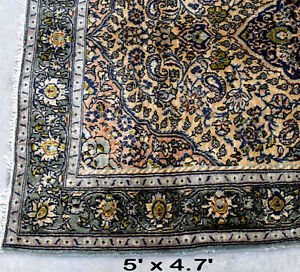 Rare Antique Green Handmade Oriental Rug Vintage Floral Hand Knotted Handwoven