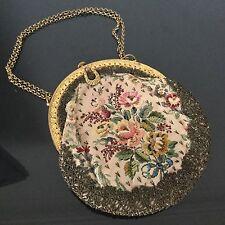 Bourse Brodée A La Main Sac Aumônière Fin XIXè Victorian Embroidery Bag Purse