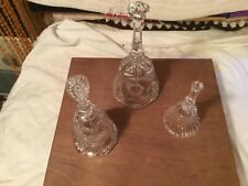 3 lead crystal glass dinner bells Gorgeous etched floral,3 hole handle