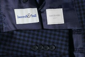 Samuelsohn Soft Mens Blue Check Super 100 Side Vent Sport Coat Jacket Blazer 40R