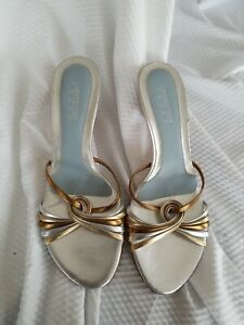 Lambertson Truex Bonita silver gold metallic leather slides mules 40.5/10 US