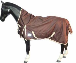 1200 Denier Lightweight Turnout Horse Rug HALF Neck Waterproof Brown 5'9 - 7'3