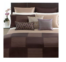 Hotel Collection King Pillow Sham Woven Jacquard Cubist Striped Brown Multi