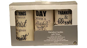 3 True Living Essentials Flameless Candles w/ Timer Real Wax Vanilla Scented
