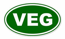 "VEG Vegan Green Oval car bumper sticker decal 5"" x 3"""