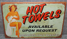 """Vintage Look Tin Metal """"Hot Towels Available On Request"""" 10""""X16"""" Old Style Sign"""