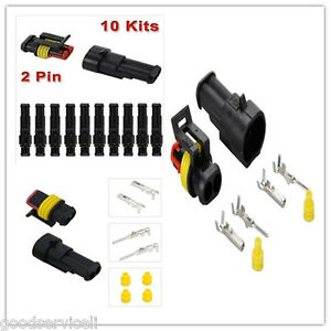 Car Motor 2Pin Way Sealed Waterproof Electrical Wire cableConnector Plug 10 pcs