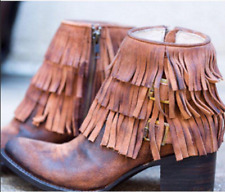 $295 FREEBIRD BY STEVEN 'BELLE' SUEDE/LEATHER ANKLE BOOT TAN WOMENS 7M