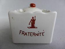 MASONIC INKWELL INKSTAND WITH LITTLE CUP FREEMASONRY ENCRIER FRANC MACON POT