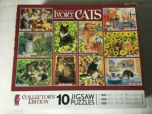 Lesley Anne Ivory's Ivory Cats 10 Puzzles (2010, Ceaco) 38094 All Complete